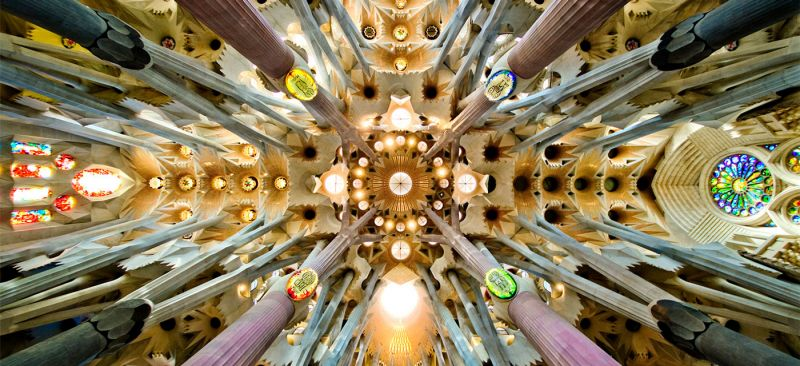 Nave roof detail of the Sagrada Familia, Barcelona