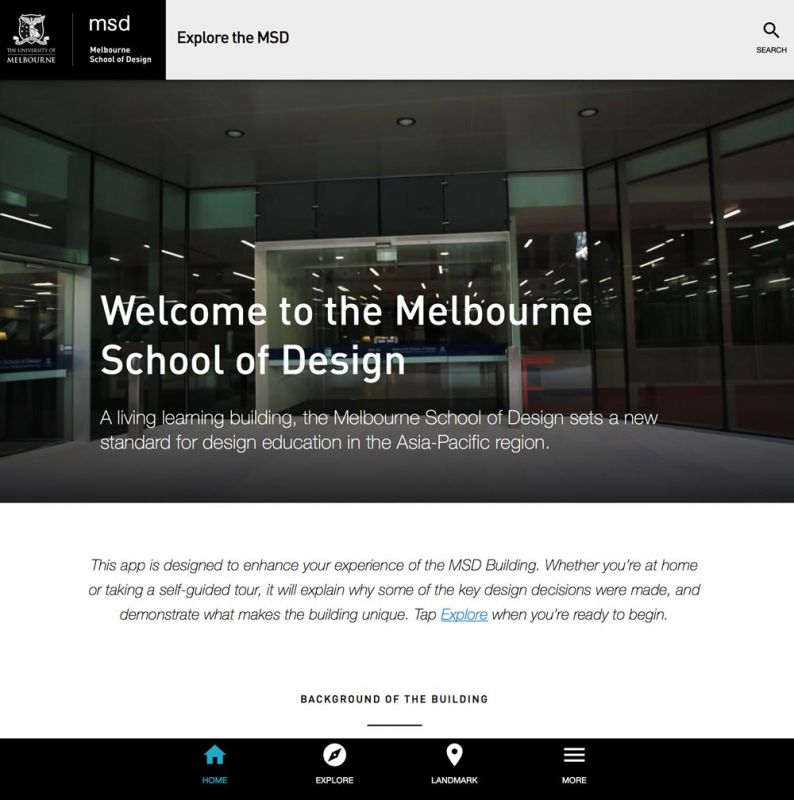 Landing page of Explore MSD app