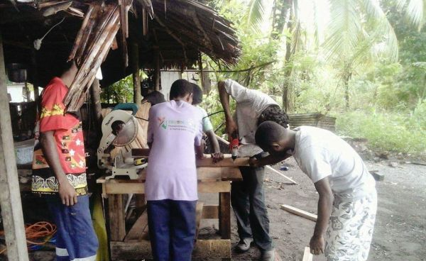 The community workteam building the new composting toilet
