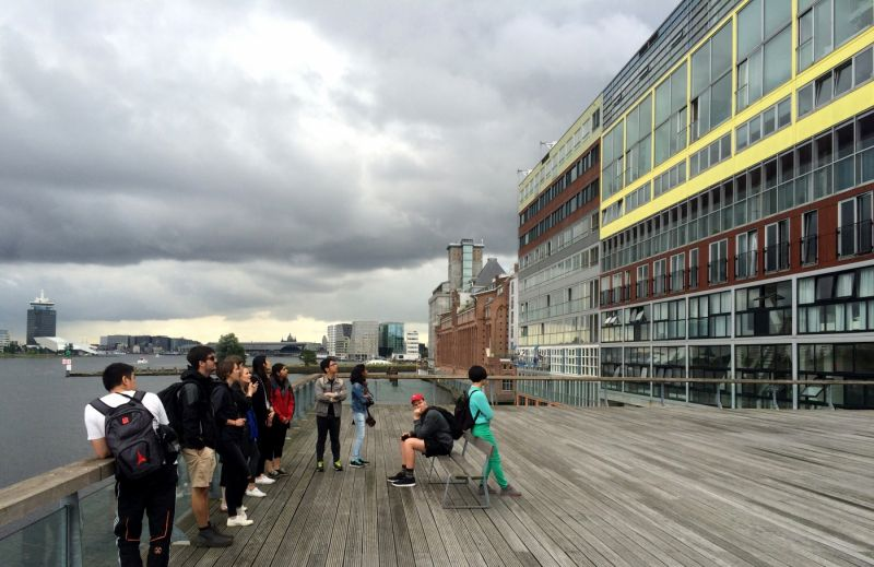 Students visit MVRDV's Silodam in Amsterdam harbour