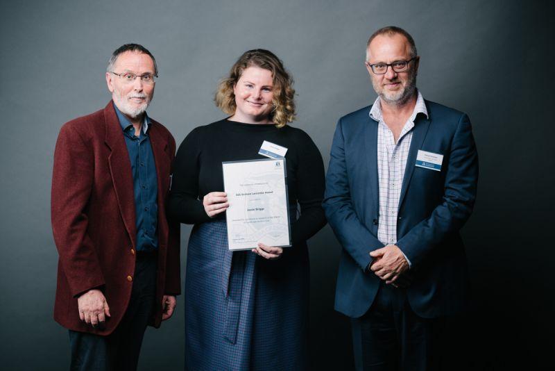 Dr John Stone, award recipient Jessie Briggs, Patrick Fensham