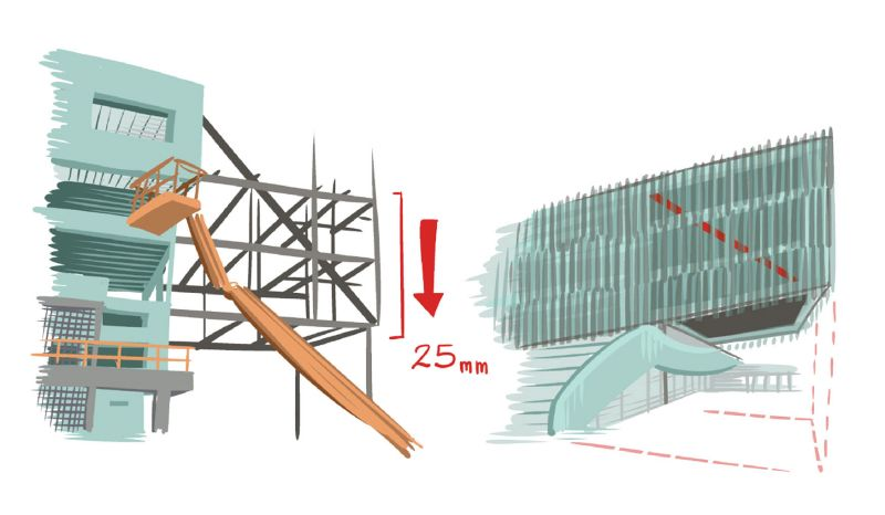 Diagram showing the design of the cantilevered wing.