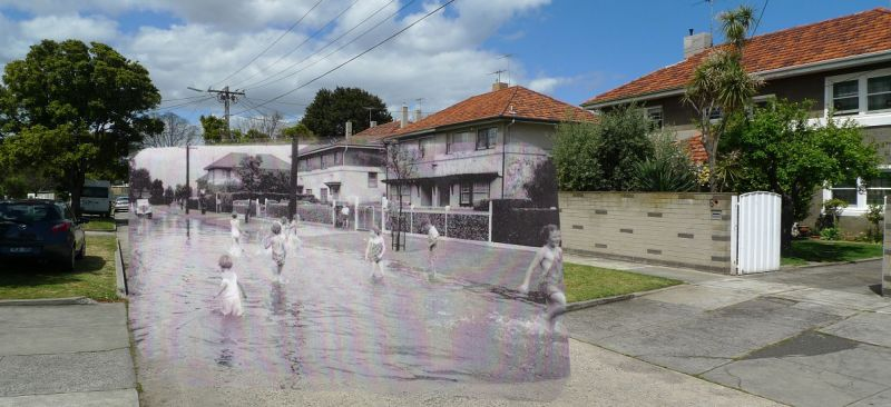 A composite image of black and white photography with colour photography depicting Crichton Street in Victoria