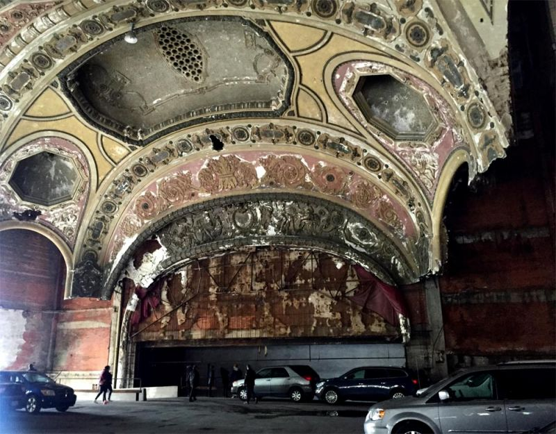 Interior of the Michigan theatre, now a parking lot