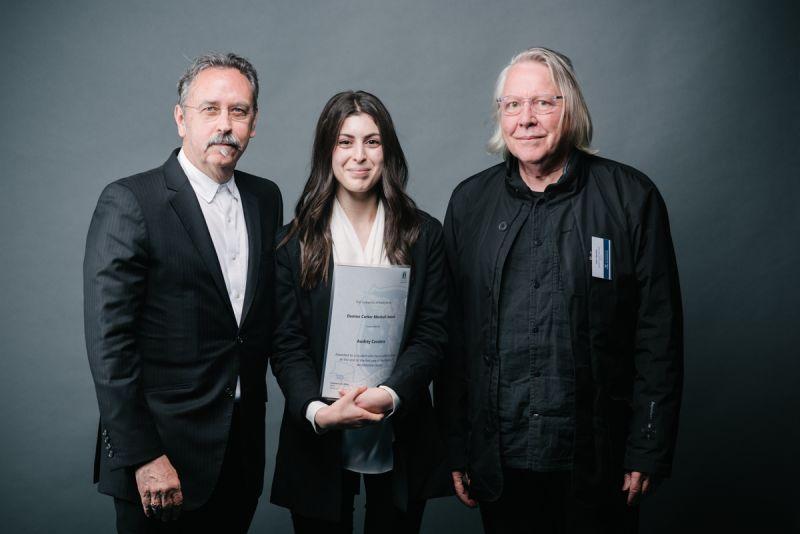 Professor Donald Bates, award recipient Audrey Cavalera, John Denton