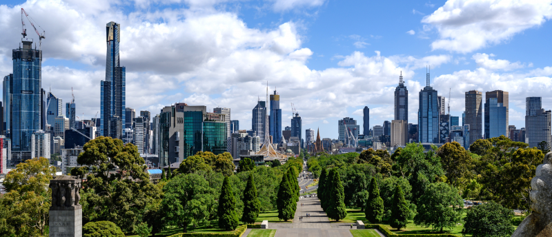 Melbourne as viewed from the Shrine, January 2019. Image credit: Bengt Nyman.