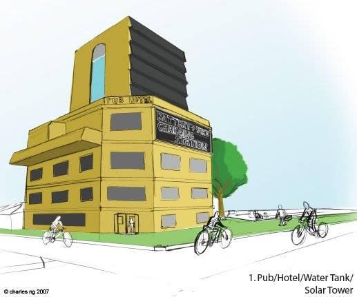 Pub / Hotel / Water Tank / Solar Tower