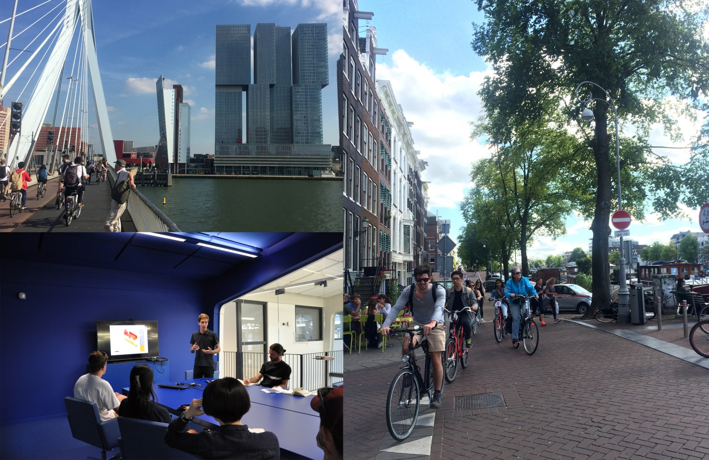 Clockwise from top: Students visit De Rotterdam designed by Rem Koolhaas; students cycling through the streets of Amsterdam; students taking part in a workshop at MVRDV offices. Image credits: Katherine Sundermann & Andy Fergus