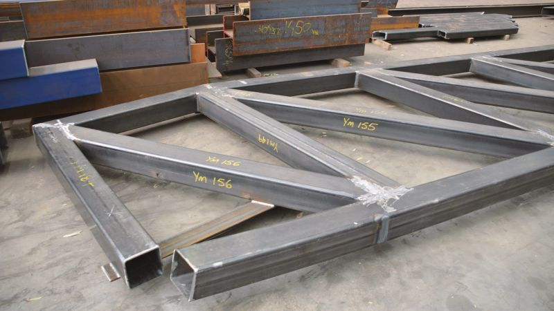 The steel square hollow section tubes.