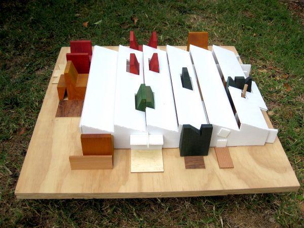 The Language Factory model scheme #1 @ 1:100  2010?  Coreflute, timber on plywood base.
