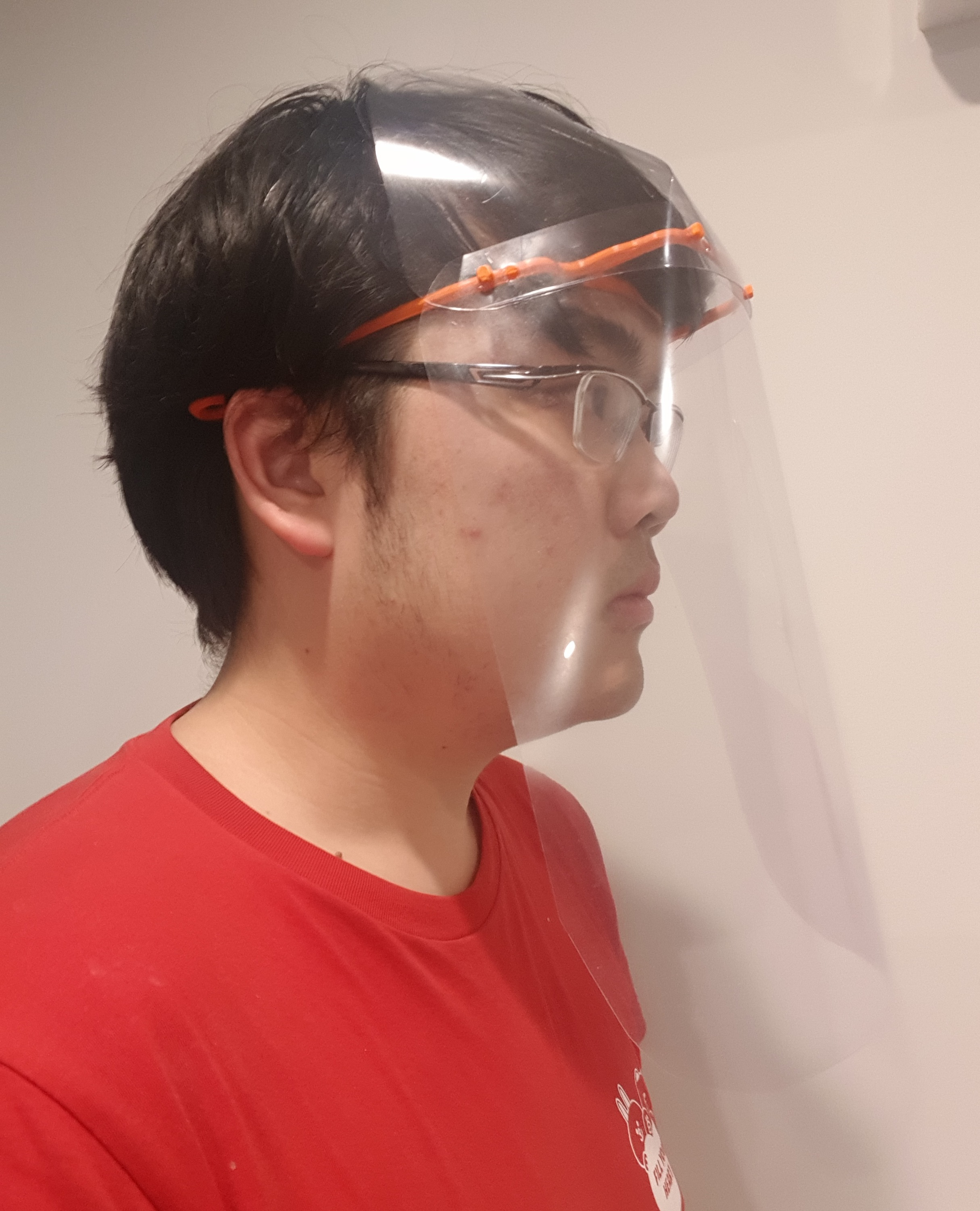 face shield on person